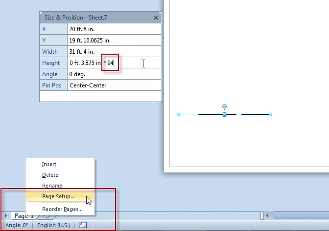 Visio Page Setup menu and Size & Position window