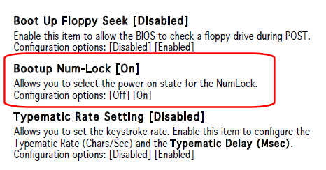 ASUS Bootup Num-Lock On/Off Option