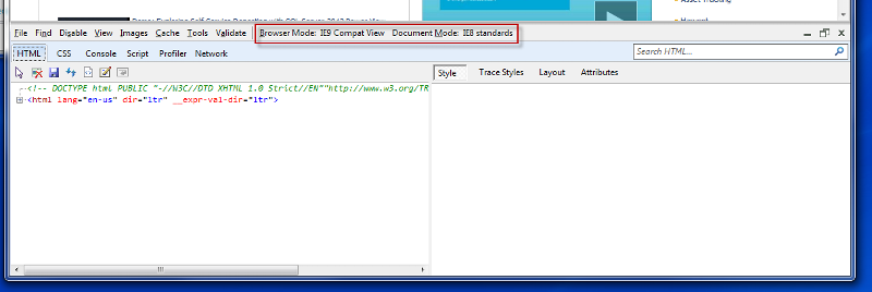 Screen shot of IE developer Tools with Compatibility mode highlighted.