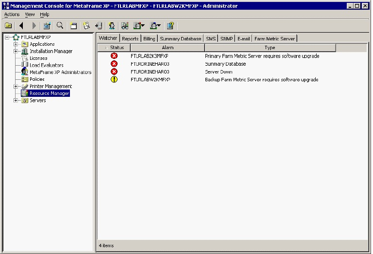 Resource Manager in Management Console