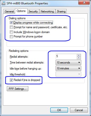 3G-Connectoid, Options tab