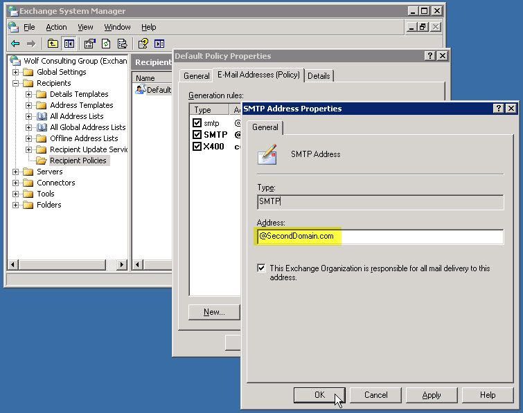 Adding a 2nd Domain to Exchange Server 2003