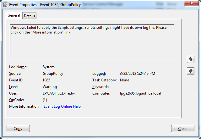 group policy error