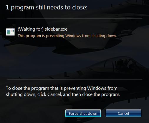 Windows force shut down prompt