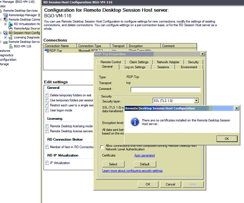 Remote Desktop Session Host Certificate section