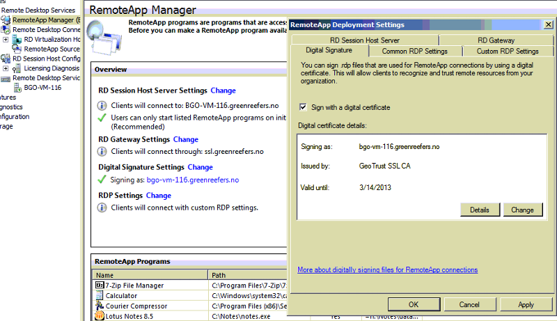 Remote Desktop RemoteApp Manager Certificate section