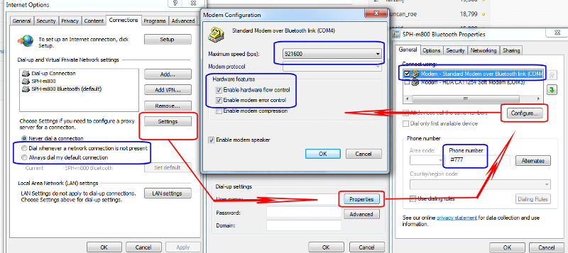 Basic settings for 3G dialup connectoid