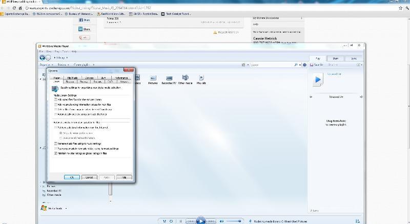 wmp 12 tools options library tab settings