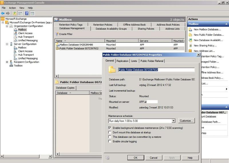 Public folder database properties