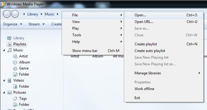 WMP 12's File->Open menu