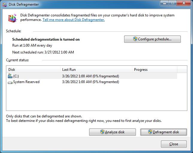 Win7 Disk Defrag