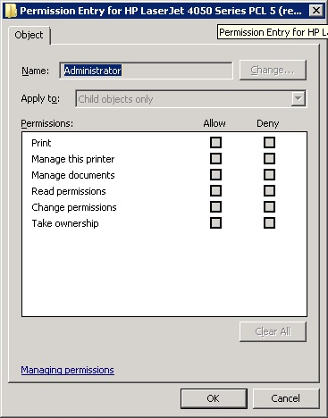 Setting security settings for Administrator is disabled.
