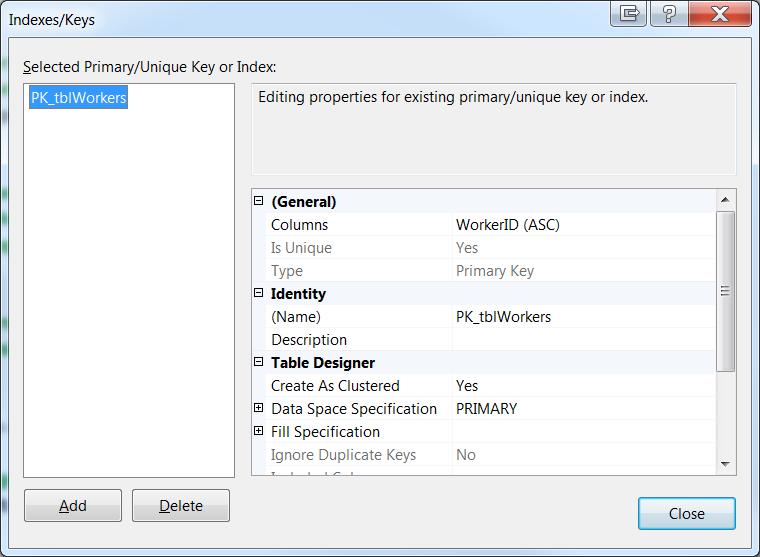 Indexes/Keys Dialog