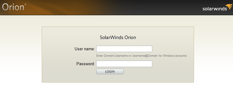 Solarwinds Login Page