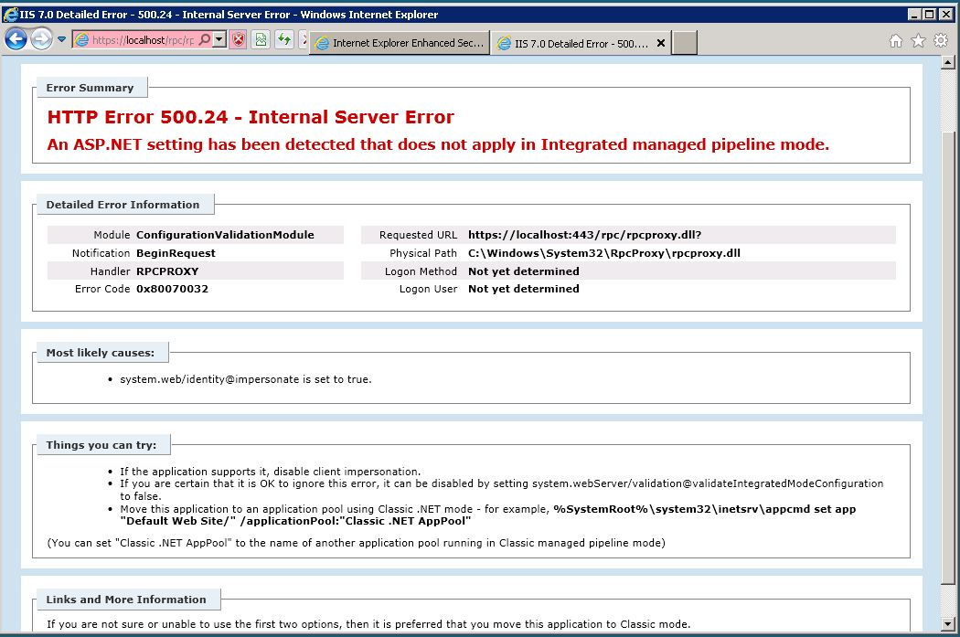 Outlook Anywhere HTTP 500 error