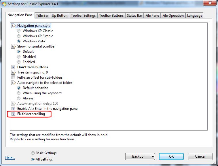 ClassicShell - Explorer settings - Navigation Pane