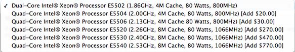 CPU listing