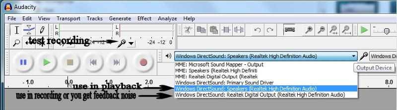 Audacity output settings