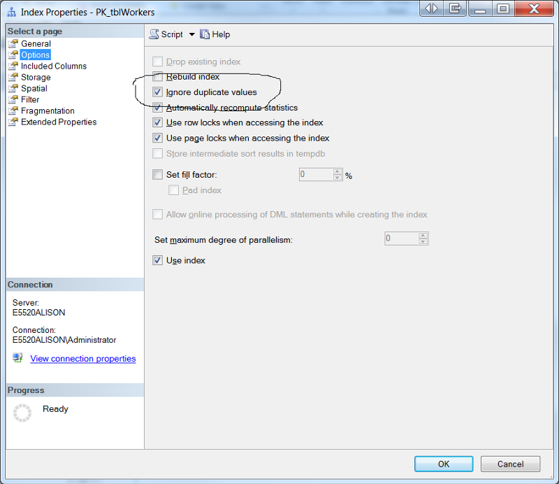 Alternative for Setting Ignore Duplicate Keys
