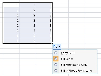 Excel filling options after dragging
