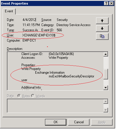 This screenshot show event for changing mailbox permission in Exchange Server 2010, but not showing the user name correctly.