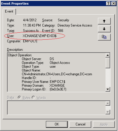 This screenshot show event for changing mailbox permission in Exchange Server 2003