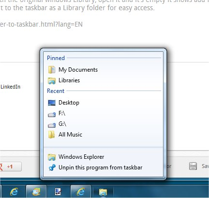 Explorer Folder Library pinned to taskbar