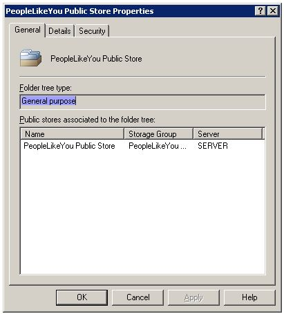 Public Folder Tree Properties for Second Storage Group