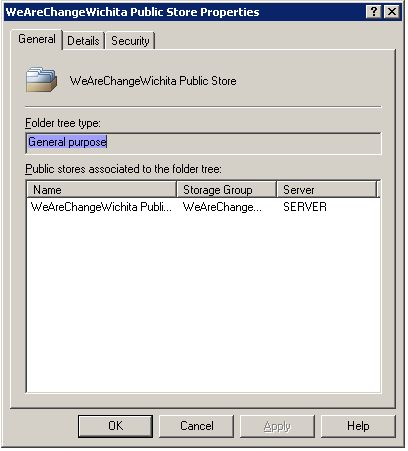 Public Folder Tree Properties for Third Storage Group