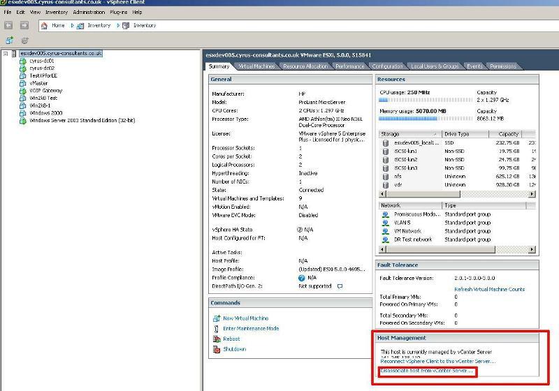 Disassociate host from vCenter Server1
