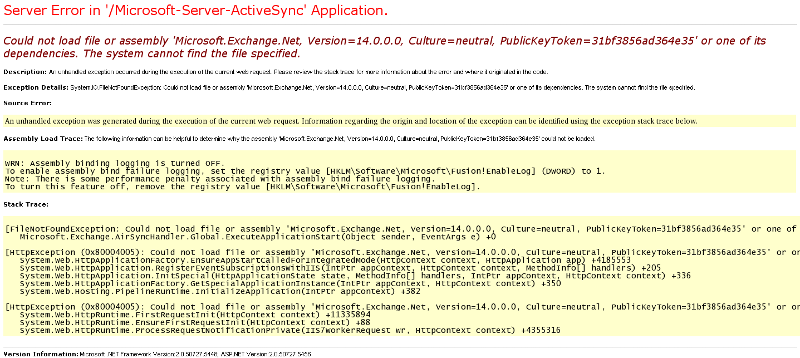 ActiveSync stops working if I use the original web.config file.