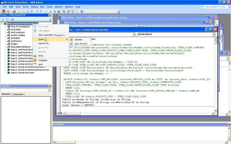 Screen shot of this Access VBA project