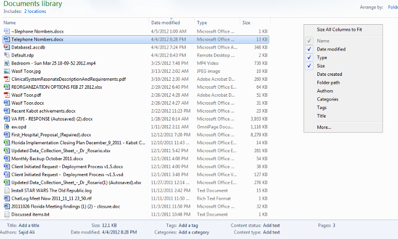Windows Explorer Column Configuration