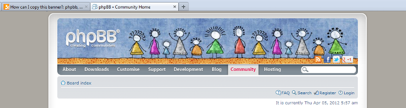 screen shot showing PHPBB banner image with social media icons