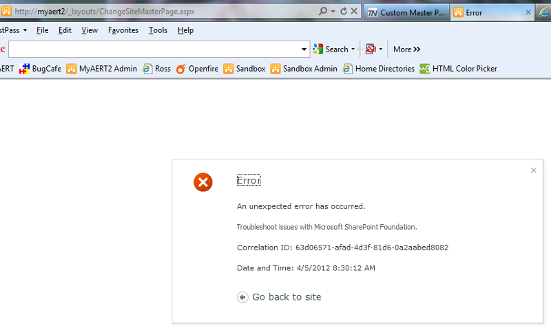Error I get when I try to change site master page.