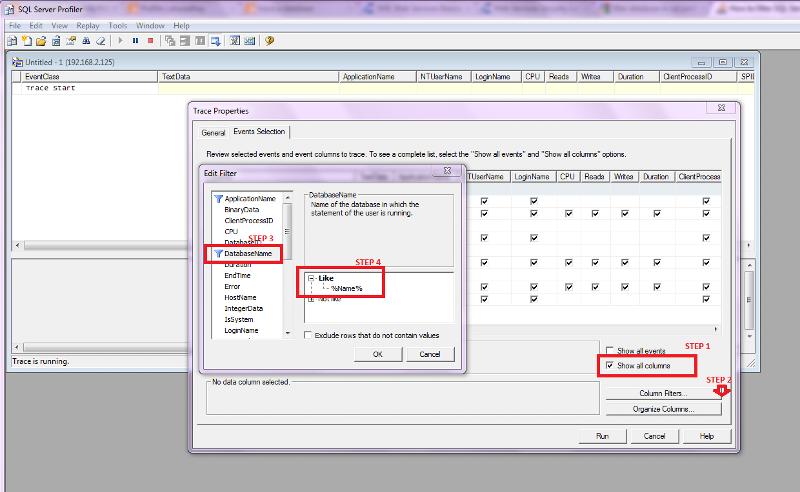 flow of profiler to filter databasename
