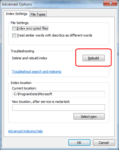 Control Panel - Indexing Options - Force Rebuild