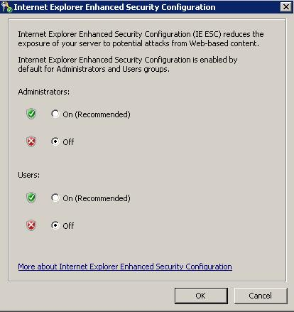 Configure IE ESC
