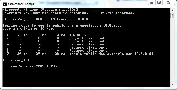 Tracert screenshot