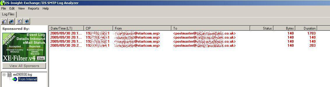 simple SMTP log viewer for IIS