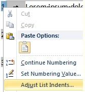 Adjust List Indents screenshot