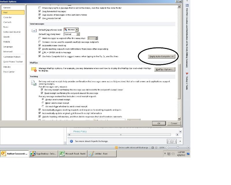 Auto-Complete clear on my Outlook 2010 client