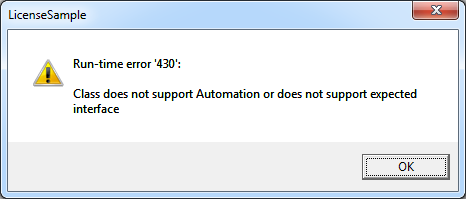 Demo application or USE of DLL still fails with an automation error.