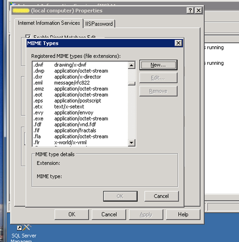 Screenshot - MIME types