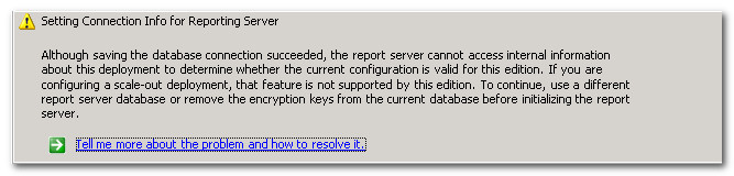 Reporting Services DB Setup Error