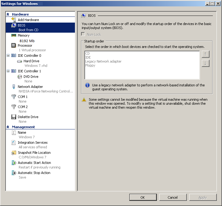 Virtual Machine HW settings