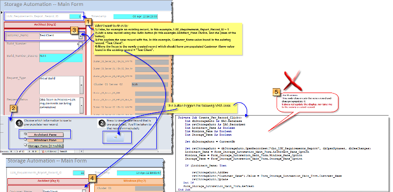 Illustration of GUI/Form and VBA code