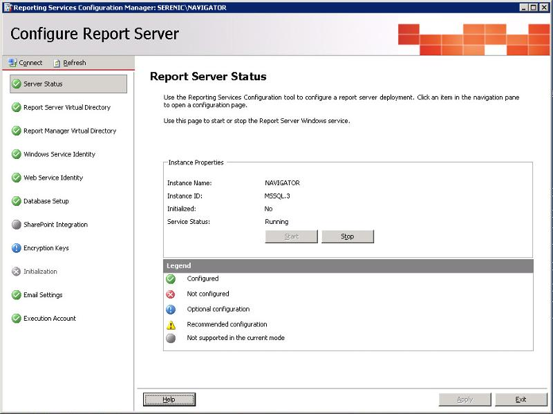 Report Server Status Page