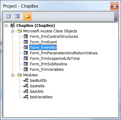 Figure 11: The Project window showing all the classes and modules contained within the Chap8Ex project.