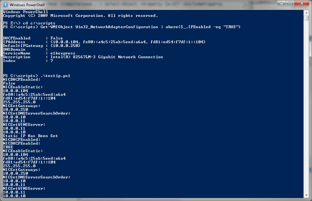 Use Powershell to retrieve DHCP IP information and then set